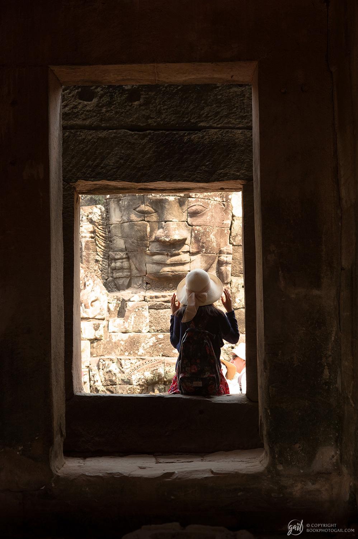 Instantané au temple Bayon à Angkor Thom