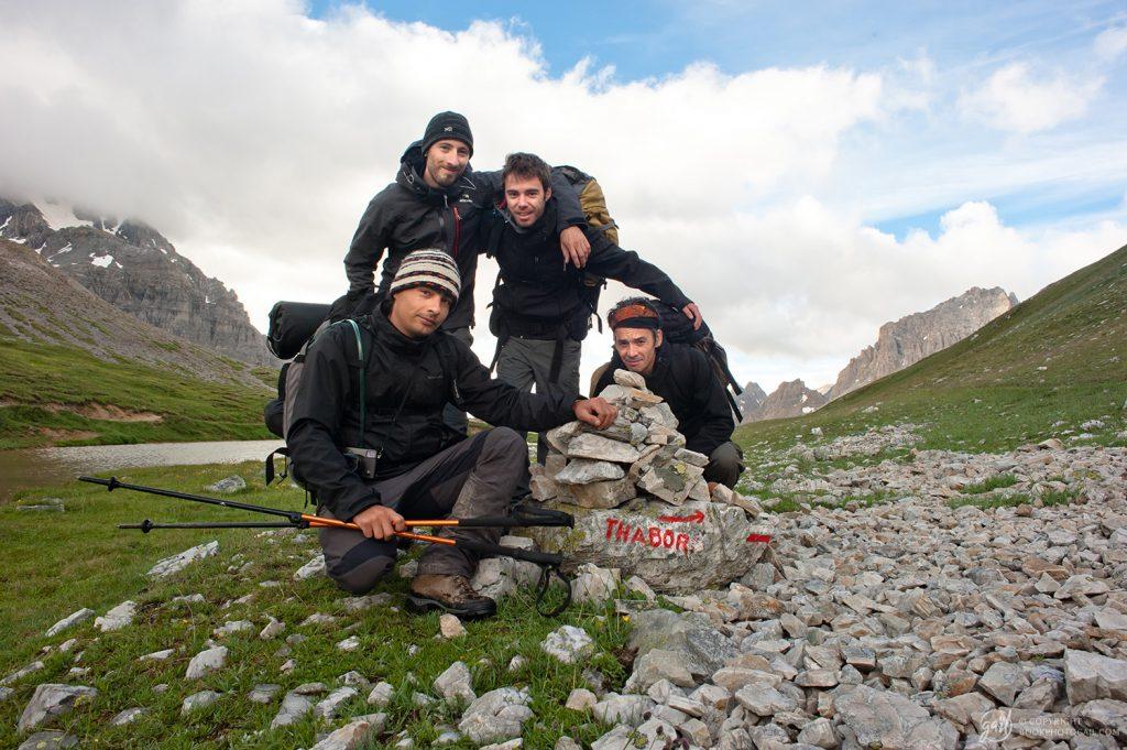 Notre équipe de randonneurs 2014. Gaïl en haut à gauche, Ben en haut à droite, Tom en bas à gauche et Xavier en bas à droite.