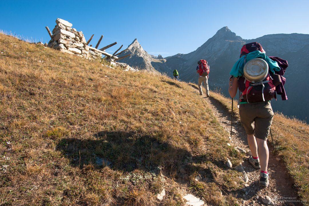 Départ de la traversée de la Vanoise au-dessus du refuge de l'Orgère