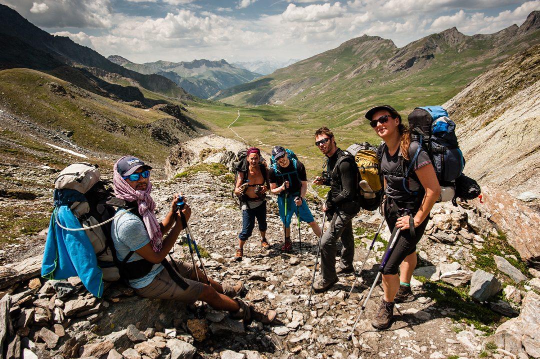 Notre groupe de randonnée dans la montée du Col Blanchet, Queyras